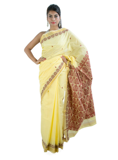 Yellow Bodo Miri Design Cotton Saree