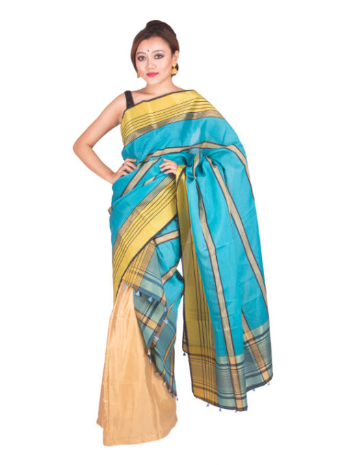 Stripped Electric Blue Silk Chador, Silk Chador