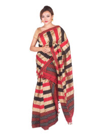 Red and Black Poly Ghicha Silk Mekhela Chador