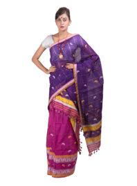 Purple and Pink Checked Mekhela Chador