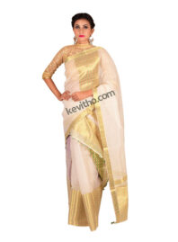 White and Gold Brocade Mekhela Chador