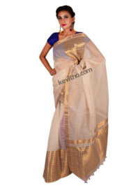 Golden Blue Brocade Mekhela Chador