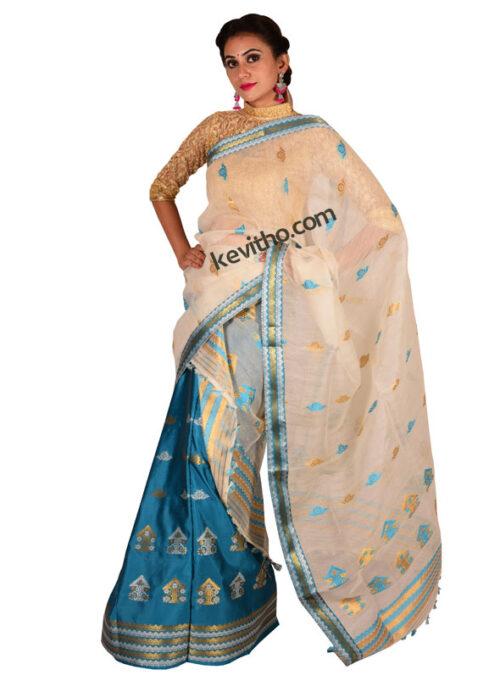 Blue and White Contrast Silk Mekhela Chador