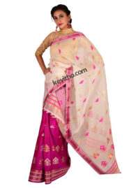 Purple and White Contrast Silk Mekhela Chador