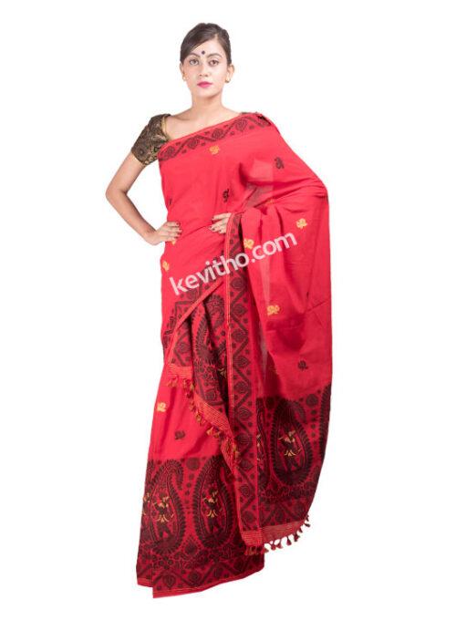 Deep Red Dance design Mekhela Chador