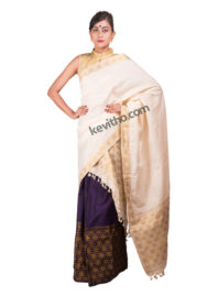 Purple and White Brocade Guna Mekhela Chador