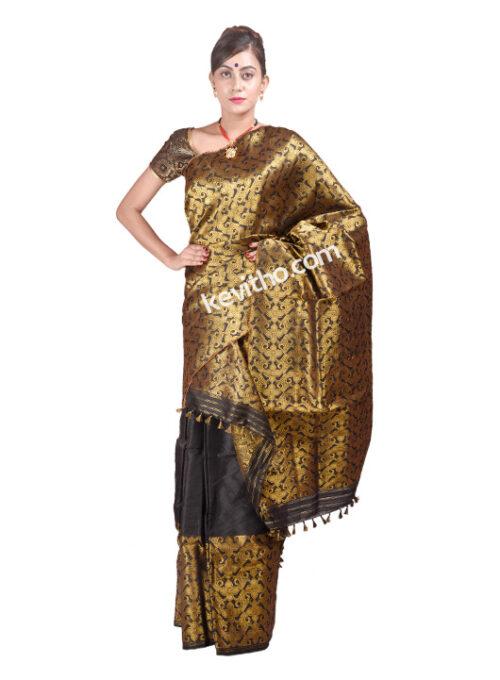 Black and Gold Ludhiyana Paat Mekhela Chador
