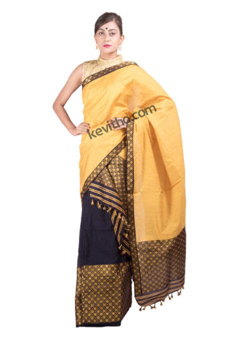Yellow and Blue Brocade Mekhela Chador
