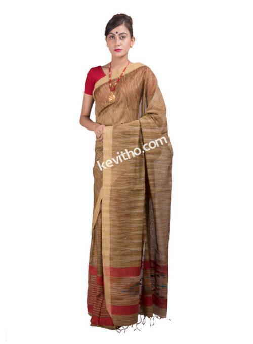 Red and Muga Khadi Silk Mekhela Chador